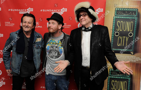 "Musicians Lee Ving, left, Corey Taylor, center, and Rick Nielsen pose together at the premiere of the documentary film ""Sound City"" at the 2013 Sundance Film Festival, in Park City, Utah"