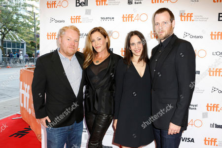 """Producer Mike Harrop, from left, writers Paige Dylan, Amy Koppelman and director Adam Salky attend a premiere for """"I Smile Back"""" on day 7 of the Toronto International Film Festival at the Princess of Wales theatre, in Toronto"""