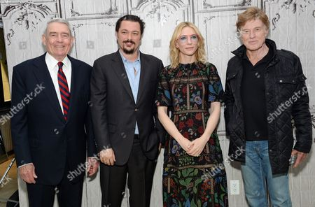 "Television journalist Dan Rather, left, director James Vanderbilt, actress Cate Blanchett and actor Robert Redford pose backstage before AOL's BUILD Speaker Series to discuss the new film ""Truth"", at AOL Studios, in New York"