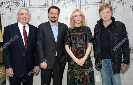 "Television journalist Dan Rather, from left, director James Vanderbilt, actress Cate Blanchett and actor Robert Redford pose backstage before AOL's BUILD Speaker Series to discuss the new film ""Truth"", at AOL Studios, in New York"