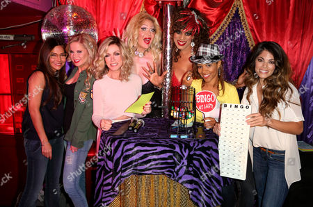 The cast of the Queens of Drama, left to right, Vanessa Marcil, Crystal Hunt, Donna Mills, Chrystee Pharris and Lindsay Hartley, celebrated the Wednesday night premiere of the new show by co-hosting a special night of Legendary Drag Queen Bingo which benefitted AIDS Project Los Angeles on Mon., in West Hollywood, Calif
