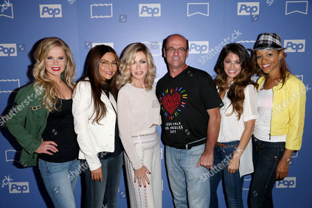 Pop TV's Queens of Drama cast, left to right, Crystal Hunt, Vanessa Marcil, Donna Mills, Lindsay Hartley and Chrystee Pharris, celebrate the launch of the new show with Bert Champagne from AIDS Project Los Angeles which teamed up to host a special night of Legendary Drag Queen Bingo benefitting the organization on Mon., in West Hollywood, Calif