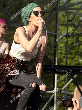 Lisa Origliasso of the band The Veronicas performs in concert at Rockford Park, in Wilmington, Del