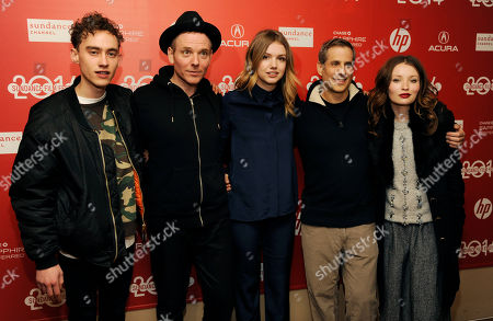 """Stuart Murdoch, second from left, writer/director of """"God Help The Girl,"""" poses with, from left, cast members Olly Alexander and Hannah Murray, producer Barry Mendel and cast member Emily Browning at the premiere of the film at the 2014 Sundance Film Festival, in Park City, Utah"""