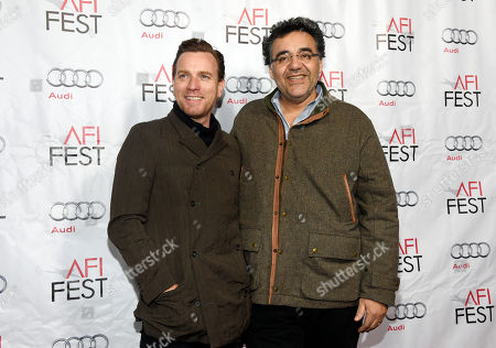 """Ewan McGregor, left, star of """"Last Days in the Desert,"""" poses with the film's writer/director Rodrigo Garcia at a special screening of the film during the 2015 AFI Film Fest at TCL Chinese Theatre, in Los Angeles"""
