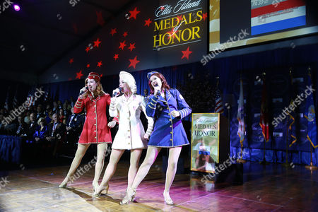 The Victory Belles, from the National WWII Museum, perform at the 2016 Ellis Island Medals of Honor awards ceremony on on Ellis Island, NY. NECO honored ninety outstanding Americans including Joint Chiefs of Staff General Martin Dempsey, former U.S Army General Ann E. Dunwoody, recording artist Tony Orlando, TV host Padma Lakshmi and former NFL player Mike Utley