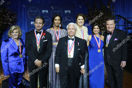 Stock Picture of I. Lorraine Thomas, philanthropist and co-founder of The Dave Thomas Foundation for Adoption, Bill Evans, meteorologist of WABC-TV New York, Padma Lakshmi, TV host, Nasser J. Kazeminy, Chairman of the National Ethnic Coalition of Organizations, Ali Torre, co-founder of the Joe Torre Safe At Home Foundation, Tamsen Fadal, News Anchor and Marvin Scott, News Anchor, attend the National Ethnic Coalition of Organization's 2016 Ellis Island Medals of Honor awards ceremony on on Ellis Island, NY