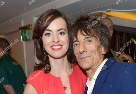 Sally Humphries, left, and Ronnie Wood seen at the ELLE Style Awards at the Savoy Hotel, in London