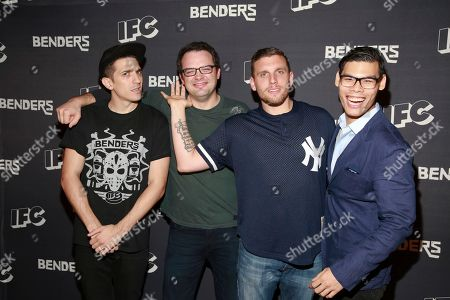 Actor Andrew Schulz, actor Mark Gessner, actor Chris Distefano and actor Ruy Iskandar ae seen at the IFC Comedy Showcase at the Village Underground on in New York