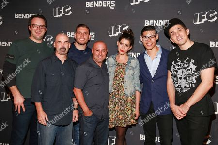 Actor Mark Gessner, creator Tom Sellitti, actor Chris Distefano, creator Jim Serpico, actress Lindsey Broad, actor Ruy Iskandar and actor Andrew Schulz seen at IFC Comedy Showcase at the Village Underground on in New York