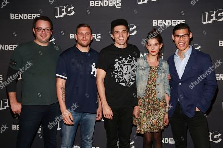 Stock Picture of Actor Mark Gessner, actor Chris Distefano, actor Andrew Schulz, actress Lindsey Broad, actor Ruy Iskandar are seen at IFC Comedy Showcase at the Village Underground on in New York