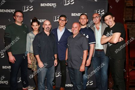 Actor Mark Gessner, actress Lindsey Broad, creator Tom Sellitti, actor Ruy Iskandar, creator Jim Serpico, actor Chris Distefano, IFC Executive Vice President of Marketing Blake Callaway and actor Andrew Schulz seen at IFC Comedy Showcase at the Village Underground on in New York