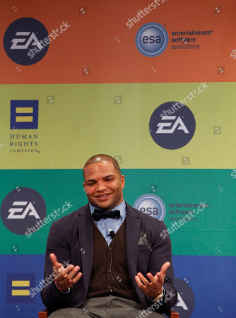 NFL linebacker and Super Bowl Champion Brendon Ayanbadejo of the Baltimore Ravens speaks at Electronic Arts' LGBT Full Spectrum Event on Thursday, March, 7, 2013 in New York City, New York