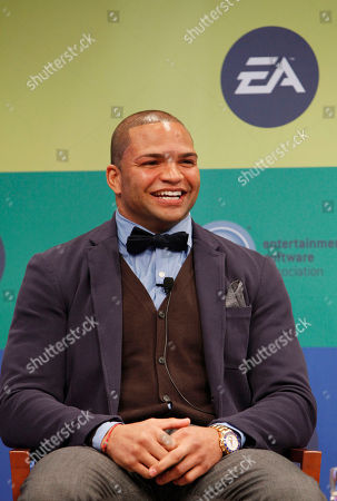 IMAGE DISTRIBUTED FOR EA - NFL linebacker and Super Bowl Champion Brendon Ayanbadejo of the Baltimore Ravens speaks at Electronic Arts' LGBT Full Spectrum Event on Thursday, March, 7, 2013 in New York City, New York