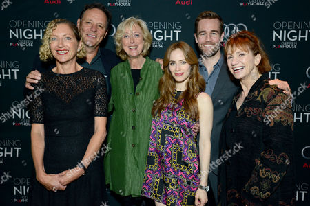 """Maria Aitken, Jaime Ray Newman, Chris Mulkey, Joanna Murray-Smith, Kathy Baker and James Van Der Beek attend the opening night of """"The Gift"""" at the Geffen Playhouse on in Westwood, Calif"""