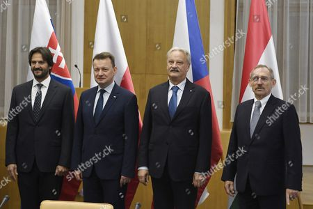 (L-R) Interior Ministers of the Visegrad Group (V4) countries, Robert Kalinak of Slovakia, Mariusz Blaszczak of Poland, Jiri Novacek of Czech Republic and Sandor Pinter of Hungary pose for a photo during their meeting in the Ministry of Interior in Budapest, Hungary, 05 October 2017.