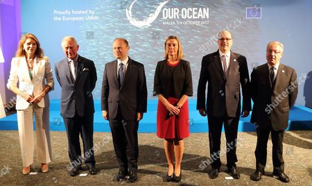 (L-R) Queen Noor of Jordan, Britain's Prince Charles, Prime Minister of Malta Joseph Muscat, High Representative of the European Union for Foreign Affairs and Security Policy Federica Mogherini, Prince of Monaco Albert II and European Commissioner for Maritime Affairs and Fisheries Karmenu Vella pose for a group photo at the opening of the Our Ocean 2017 conference in St. Julian's, Malta, 05 October 2017. The event is organized to ensure that efforts to halt the degridation of the world's marine environments are enacted by governments and civil society.