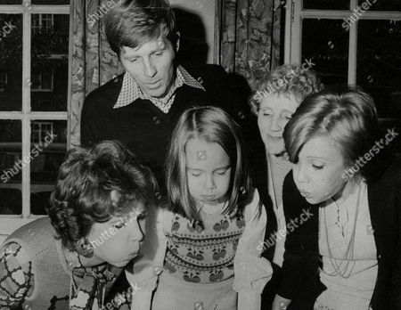 Actor Gary Collins Looks On As His Daughter Clancy Collins (5) Blows Out The Candles On Her Birthday Cake Helped By Her Mother Former Beauty Queen & Actress Mary Ann Mobley (l) And Actresses Joyce Carey And Hayley Mills (r). Box 755 709051717 A.jpg.
