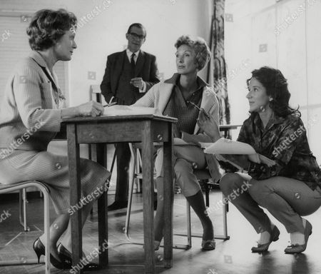 Rehearsal For Tv Play 'a Letter From The General' At St Mark's Hall Maida Vale. L-r: Anna Neagle Producer George More O'ferrall Georgina Cookson And Director June Howson. Box 757 918051731 A.jpg.