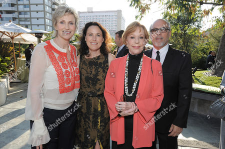 """L-R) Jane Lynch, Lara Embry, Carol Burnett and her husband Brian Miller attend the host committee dinner for the """"Backstage At The Geffen"""" Fundraiser on at the W Los Angeles â?"""" Westwood on Monday, June 4, 2012"""