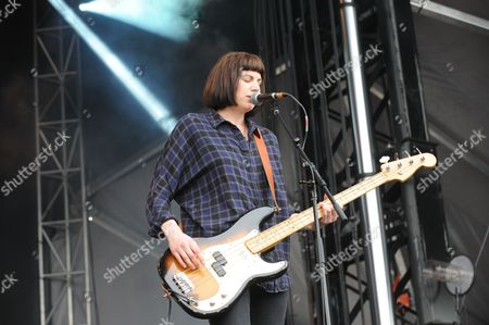 Emma Richardson with Band of Skulls performing at the Shaky Knees Music Festival, in Atlanta