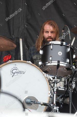 Matt Hayward with Band of Skulls performing at the Shaky Knees Music Festival, in Atlanta