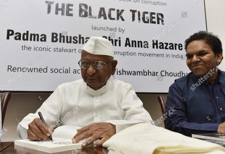 Social activist Anna Hazare during the launch of a book on Corruption 'BLACK TIGER' written by Srijan Pal Singh at Constitutional Club, on October 3, 2017 in New Delhi, India. Anna Hazare accused the Modi government of failing to keep his promise of creating a corruption-free India.
