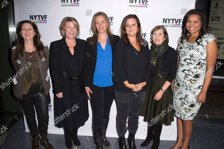 """Blair Breard, from left, Barbara Hall, Anya Epstein, Stephanie Laing, Michelle King and Courtney Kemp Agboh attend the 11th Annual New York Television Festival Creative Keynote Panel: """"Running the Show: A Big Picture Conversation on Creating for the Small Screen"""" at the SVA Theatre, in New York"""