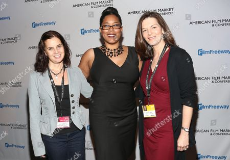 Lisa Layer, Associate Western Executive Director, Directors Guild of America, from left, Darrien Michele Gipson, National Director,SAGindie, and Kay S. Wolf, Independent Film Executive,Writers Guild of America, West, attend the American Film Market (AFM) conferences held at the Fairmont Hotel, in Santa Monica, Calif