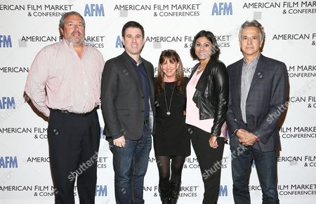 Steve Nickerson, President, Home Entertainment, Broad Green Pictures, from left, Paul Davidson, SVP, Film & TV, The Orchard, Lise Romanoff, Managing Director/CEO Worldwide Distribution, Vision Films, Hanny Patel, Sr. Director, Revenue & Product Marketing, DirecTV, and Russell Schwartz, Co-Principal, Pandemic Marketing Corp, attend the American Film Market (AFM) conferences held at the Fairmont Hotel, in Santa Monica, Calif