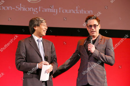 Patrick Soon-Shiong and Robert Downey Jr. surprised the 12 finalists in Marvel's IRON MAN 3: INVENTOR and INNOVATOR FAIR at the El Capitan Theatre in Hollywood, on Friday, May, 3, 2013 in Los Angeles