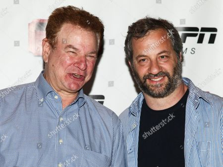 """Robert Wuhl, left, and Judd Apatow, right, attend the premiere of ESPN Film's """"Doc & Darryl"""" at The Joseph Urban Theater, in New York"""