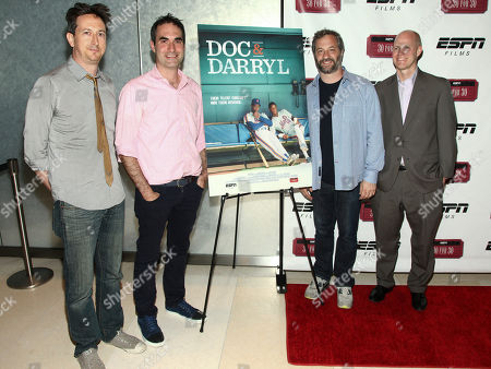 """Michael Bonfiglio, from left, Connor Schell, Judd Apatow and John Dahl attend the premiere of ESPN Film's """"Doc & Darryl"""" at The Joseph Urban Theater, in New York"""