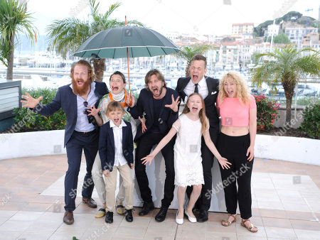 From left, Kristofer Hivju, Lisa Loven Kongsli, Clara Wettergren, director Ruben Ostlund, actors Vincent Wettergren, Johannes Bah Kuhnke and guest during a photo call for Turist at the 67th international film festival, Cannes, southern France