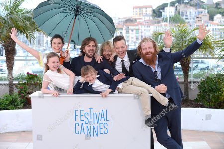 From left, Lisa Loven Kongsli, Clara Wettergren, director Ruben Ostlund, actors Vincent Wettergren, Johannes Bah Kuhnke and Kristofer Hivju during a photo call for Turist at the 67th international film festival, Cannes, southern France