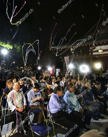 Fans and supporters of Japanese novelist Haruki Murakami let off crackers to celebrate Japanese-British Kazuo Ishiguro winning the 2017 Nobel Prize in Literature at the venue of a public viewing at Hatonomori Hachiman Shrine in Tokyo, Japan, 05 October 2017. The guests, fans and supporters initially had gathered to celebrate hopeful candidate Murakami, if he would have won the prize but switched to celebrate British-Japanese novelist Kazuo Ishiguro after the announcement of the Swedish Academy in Stockholm.