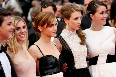 From left, actors Israel Broussard, Claire Julien, Emma Watson, Taissa Fariga and Katie Chang pose for photographers as they arrive for the screening of Young & Beautiful at the 66th international film festival, in Cannes, southern France