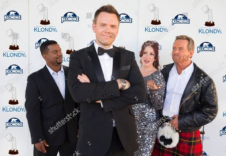 "IMAGE DISTRIBUTED FOR KLONDIKE"" Actor Alfonso Ribeiro, comedian Joel McHale,â?˜80s pop sensation Tiffany and former professional wrestler Rowdy Roddy Piper pose on the blue carpet at The Klondy Awards, on Thursday, September 5th, 2013 in Northridge, CA. We now know what they were challenged to do, as part of the Klondike Celebrity Challenge, a comedic contest allowing fans to determine what celebrities should do for Klondike bars. View Klondy Awards coverage, as well as the challenge videos, at Facebook.com/Klondike"