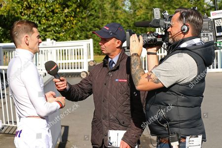 Robert Havlin is interviewed by Luke Harvey before his comeback ride on Purser at Lingfield