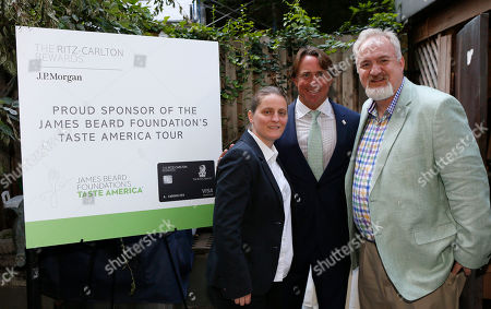 James Beard All-Star Chefs, from left to right, April Bloomfield, John Besh and Art Smith, are pictured at the kick-off event for the James Beard Foundation's Taste America national epicurean tour, presented in association with the Ritz-Carlton Rewards Credit Card at the James Beard House in New York, N.Y