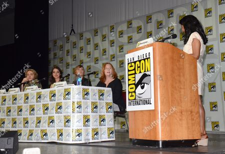 "Toby Regbo and from left, Adelaide Kane, Megan Follows, Laurie McCarthy and Meeta Agrawal attend the ""Reign"" panel on Day 1 of Comic-Con International, in San Diego"