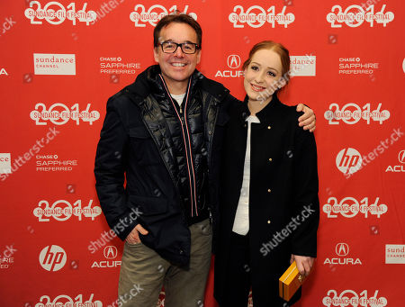 """Chris Columbus, left, and his daughter Eleanor Columbus, co-executive producers of """"Little Accidents,"""" pose together at the premiere of the film during the 2014 Sundance Film Festival, in Park City, Utah"""