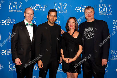 "From left, Gala Corporate Chair Steve Howe, David Blaine, Kate Howe, and Paul Hoffman attend the Liberty Science Center Genius Gala 4.0 where Jeff Bezos, Founder and Chairman of Amazon, Vinton Cerf, Chief Internet Evangelist at Google and Father of the internet, and Jill Tarter, astronomer and SETI researcher of ""Contact"" fame, are honored on Fri., in Jersey City, N.J. The gala, hosted by Center President Paul Hoffman, also pays tribute to former NJ Governor Tom Kean on his 80th birthday and features a special performance by magician/ illusionist David Blaine, and raises funds to support the Center's vast array of exhibitions, educational programs, and community initiatives"