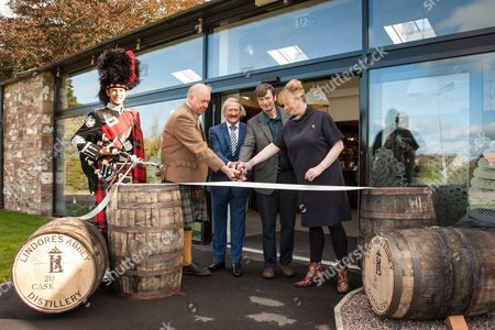 From left: Roddy Deans, Piper, Drew McKenzie Smith, Custodian of Lindores Abbey, Richard Patterson, 'The Nose', Master Distiller, Ian Rankin, author and whisky aficionado and Helen McKenzie Smith, Custodian of Lindores Abbey