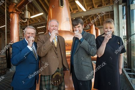 From left: Richard Patterson, 'The Nose', Master Distiller, Drew McKenzie Smith, Custodian of Lindores Abbey, Ian Rankin, author and whisky aficionado and Helen McKenzie Smith, Custodian of Lindores Abbey