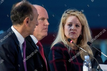 Stock Picture of Fatih Ozman, Bob Smith, Gwynne Shotwell. From left, Sierra Nevada Corporation CEO Fatih Ozman, Blue Origin CEO Bob Smith and SpaceX President and CEO Gwynne Shotwell appear as panelists at the first meeting of the National Space Council at the Steven F. Udvar-Hazy Center, in Chantilly, Va