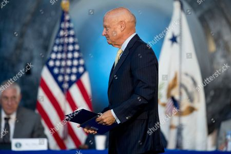 Stock Photo of Former Commander Strategic Command retired Admiral James Ellis arrives to speak on a panel during the National Space Council's first meeting titled 'Leading the Next Frontier: An Event with the National Space Council' at the Steven F. Udvar-Hazy Center, in Chantilly, Va