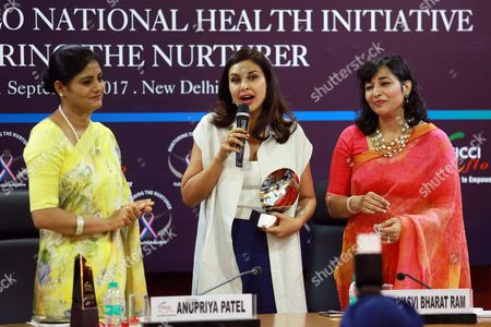 """Stock Image of Bollywood actor Lisa Ray during a program """"Call for Action: Expanding cancer care for women in India"""", on September 21, 2017 in New Delhi, India"""