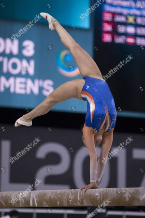 Gymnast Lieke Wevers (NED) competes during qualifications at the 47th FIG Artistic Gymnastics World Championships at Olympic Stadium in Montreal, Canada. Melissa J