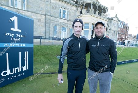 Matthew Goode and David Howell on the first tee.